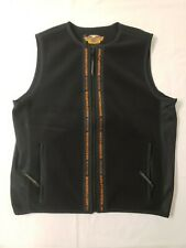 HARLEY DAVIDSON FXRG Full Zip FLEECE Vest BLACK Large EUC