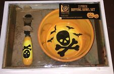 Halloween Skull & Crossbones Dip Bowl & Spreader Set New