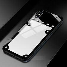 For iPhone X 6S 7 8 Plus Deluxe Metal Aluminum Glass Nail Back Hard Case Cover