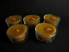 Naturprodukt 100% Bienenwachs 5 Kerzen Teelicht Beeswax Glas 48mm 1,40€/Stück