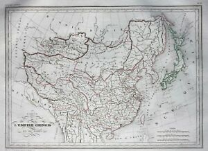Original antique map CHINA & JAPAN, CHINESE EMPIRE, Malte-Brun, 1846