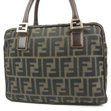Auth FENDI Vintage Logos Zucca Pattern Canvas Leather Hand Bag F/S 2237
