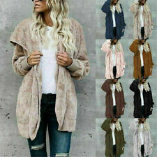 Womens Ladies Teddy Bear Fleece Hooded Coats Jackets Outwear Hoodie Cardigan US