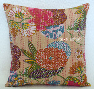 18 x18 Inches Cushion Cover India Handmade Floral Cotton Kantha Pillow Covers UK
