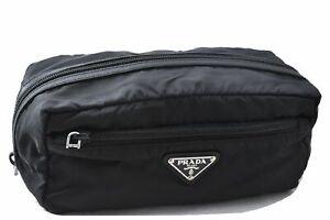 Authentic PRADA Nylon Pouch Black D6755