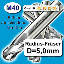 Radius-Fräser R2,5x80mm, D=5mm, Schaftfräser, M40, vergl. HSSE, HSS-E