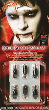 6 Fake Joke Blood Capules Vampire Dracula Zombie Halloween Fancy Dress