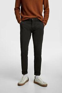 Zara Man Mens Navy Skinny Stretch Chino Cotton Trousers sizes 31-36