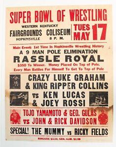 Vintage 1977 NWA Mid-America aka Memphis Wrestling Event Poster Rassle Royal