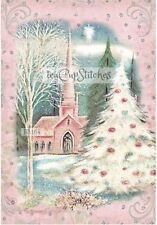 1950's Pink Church Christmas Card Image~FABRIC BLOCK~Stocking~Pillow~Quilt~164s