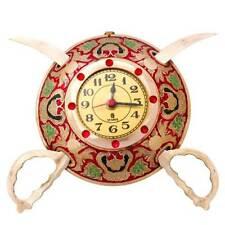 Rajasthani Real Brass Sword Armour Wall Clock (Enamel-Work)