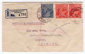 Australia 1930 Flinders Street VIC - George V Heads - Registered Cover - Germany