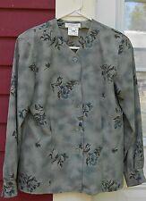 """JONES NEW YORK Green/Blue Floral Long Sleeved Button Shirt Size 6 (39"""") MINT"""