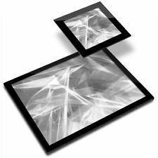 Glass Placemat  & Coaster BW - Funky Fun Holographic Retro  #35531