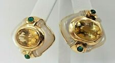 14K YELLOW GOLD EARRINGS WITH OPAL- CITRINE AND EMERALDS