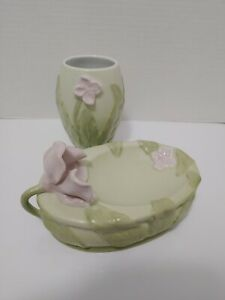 Soap dish Set Flower & Leaves Set 3D bathroom accessories Dish & Cup Green Pink