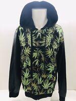 Victorious  Cannabis Leaves Print Men Full Zip Hoodie Size Medium Green/black