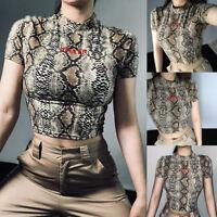Hot Fashion Women O-Neck Short Sleeve Snake Striped Print Short Crop Top T-shirt
