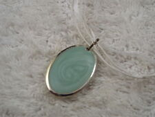 Silvertone Seafoam Pendant White Voile Ribbon Necklace (C58)