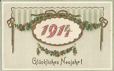 Neujahr, Jahreszahl 1914, Glanzkarte mit Goldprägung