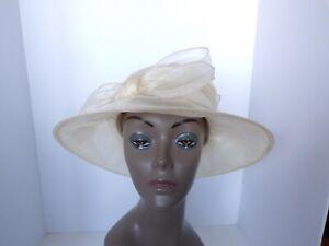 New Womens Josette Organza Micro Brim Dress Hat (Ivory) - MSRP $64