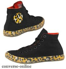 Women Girl CONVERSE All Star Black Yellow LEOPARD HI TOP Trainers Boot SIZE UK 3