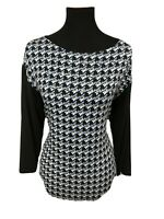 Peter Nygard Womens Top Studded Top Stretch Houndstooth Print Black Sz Small