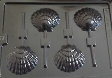 SEASIDE SHELL CLAM LOLLY LOLLIPOP MOULD IDEAL FOR CHOCOLATE 4 SHAPES ON 1 MOULD