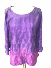 Women's Eci New York Top Shirt Cold Shoulder Purple Blend Size Large L04-10