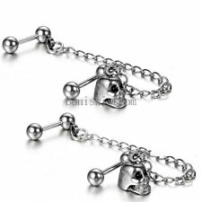 2pcs Silver Stainless Steel Double Piercings Skull Chained Mens Ladies Earrings