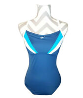 Nike 1 Piece Swim Suit Bathing Beach Modest Swimwear Womens Size 10 Back Cutout