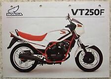 HONDA VT250F MOTORCYCLE Sales Specification Sheet 1983