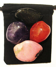 CANCER FIGHTER Tumbled Crystal Healing Set = 4 Stones + Pouch + Description Card