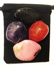 CANCER FIGHTER Tumbled Crystal Healing Set = 4 Stones + Pouch + Card
