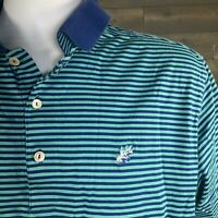 PETER MILLAR Men's Large Polo Golf Shirt Blue Teal Striped Cotton