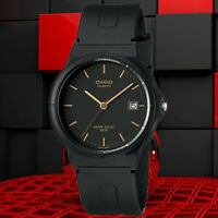 Casio MW-59-1E Men's Analog Watch Black and Gold Date Display Casual New