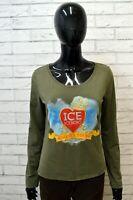 ICEBERG Maglia Donna Taglia 46 Polo Maglietta Elastica Manica Lunga Cotone Shirt