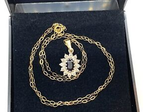 "Lovely Small 9CT Yellow Gold Sapphire & Diamond Pendant on 16"" 9CT Gold Chain"