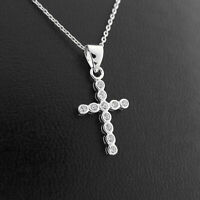 925 Sterling Silver Bezel Set Bubble Rounds CZ Cross Pendant Necklace 2 Chains