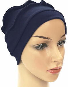 HEADWEAR FOR HAIR LOSS. 100% COTTON JERSEY BEANIE. COMFORTABLE SOFT HAT. NAVY