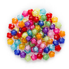 50 Piece Random Mixed Acrylic Flower Spacer Beads Jewelry Making Findings 8-14mm