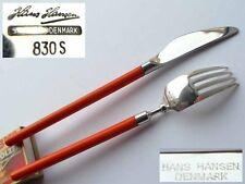 Set, Messer + Gabel, Emaille, Hans Hansen, 830er Silber