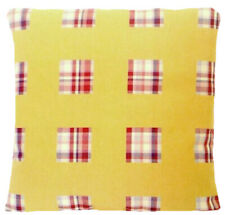 Yellow Cushion Cover Red Check Osborne & Little Woven Cotton Fabric CLEARANCE