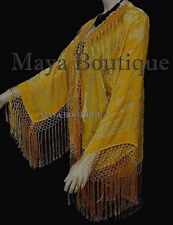 Sunflower Yellow Fringe Jacket Kimono Silk Burnout Velvet Maya Matazaro USA Made