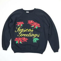 Vtg 90s Hanes Raglan Sweatshirt Womens L Holiday Themed Grunge Goth Punk USA Mde