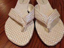 NEWPORT NEWS Pearl Ivory Woven Flat Sandals Size 8.5