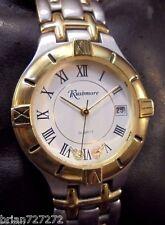 New Batt~Rushmore~Black Hills Gold~Mens SS/Gold Bracelet Watch~Solid Gold Leaves