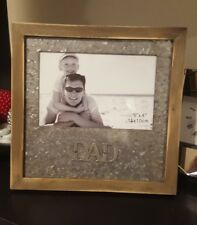 Timber Wooden Square 'Dad' Photo Frame- Home Decor Gift Fathers Day Birthday