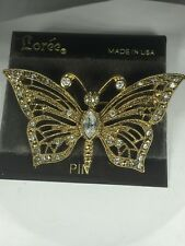 LOREE BUTTERFLY PIN BROOCH  RHINESTONES - NEW OLD STOCK ON ORIGINAL CARD