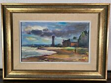 Jean Dries Oil Painting Lighthouse French Impressionist Modernist Abstract MCM